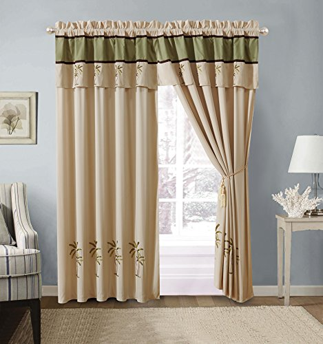 4 - Piece Sage Green/Beige / Brown Tropical Palm Tree Embroidered Rod Pocketed Luxury Curtain Set Drapes/Window Panels 120