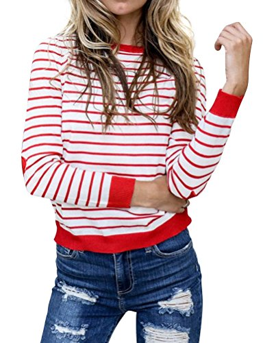 WLLW Women Crew Neck Heart Elbow Patch Long Sleeve Striped Shirt Tops Blouse (Striped Heart Tee)
