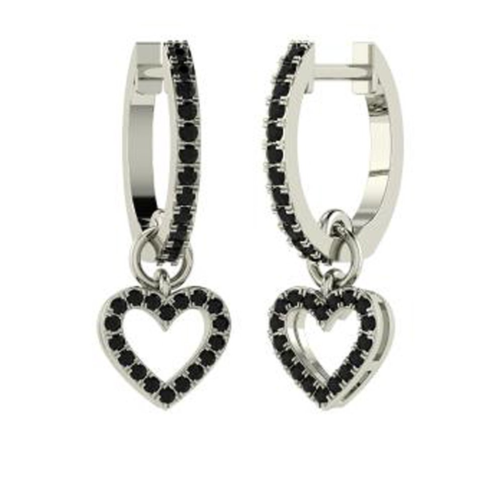 Dividiamonds 0.37 Ct Round Cut Black CZ Diamond Heart Drop Earrings In 14K Gold Plated For Womens /& Girls