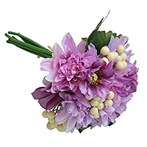 MARJON FlowersA Bouquet Artificial Fake Flower Floral Dahlia Cosmos Berry Leaf Bridal Bunch Wedding Party Hotel Office Mother's Day Birthday Gift Garden Home Decor (Purple) 109