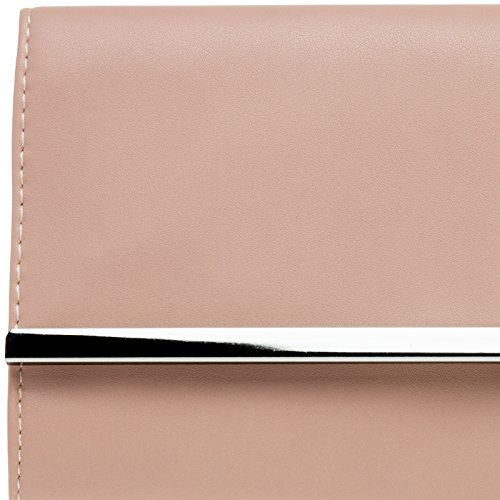 TA393 Elegant Metal Envelope Bag Decor Clutch with Long Evening Ladies CASPAR Pink Dusky dqXwUd