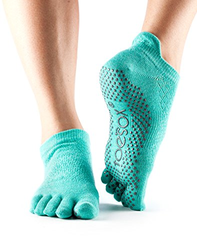 ToeSox Women's Low Rise Full Toe Grip Socks Large - Spring Collection 2016