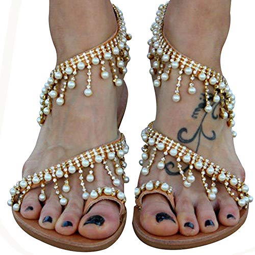 Athlefit Women's Beaded Flat Sandals Pearl Beach Toe Ring Casual Bohemia Summer Sandals Size 8 Gold ()