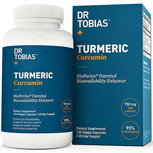 Dr Tobias Turmeric Curcumin - with Bioperine (Black Pepper) - 1500mg per 2 Capsules - Color of Capsules May Vary (120 Capsules) ()