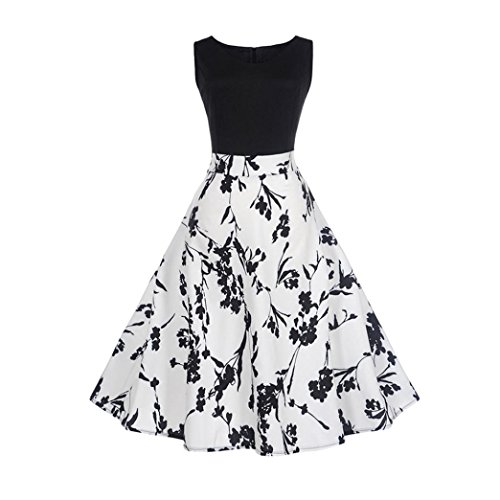 - Vintage Dresses, Womens Floral Printed Sleeveless Casual Evening Party FORUU