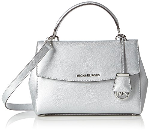 MICHAEL Michael Kors Womens Ava Leather Convertible Satchel Handbag Silver - Satchel Handbags Convertible