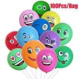 Yeefant 100 Pcs Latex Expression Emotion Smile Balloons Party Balloons Wedding Decorations Spotted Balloon,After Expansion About 7-12 Inch, Multicolor
