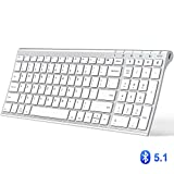 iClever Bluetooth Keyboard - Multi Device Keyboard Rechargeable Bluetooth 5.1 with Number Pad Ergonomic Design Full Size Stable Connection White Keyboard for iOS - Android - Windows