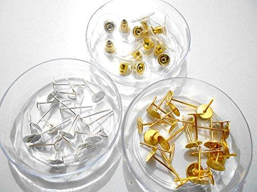 (GOELX Stud Base & Earring Back/Stopper/Locks For Jewellery With Metal Finish)