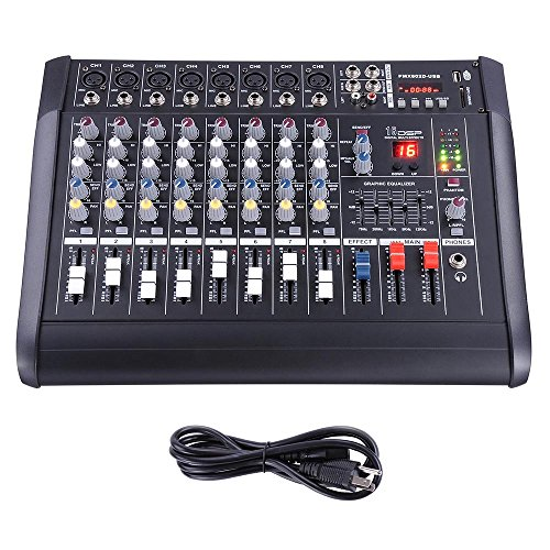 AW 8 Channel 2000 Watt Professional Powered Mixer w/ USB Slot Power Mixing 13x16x5