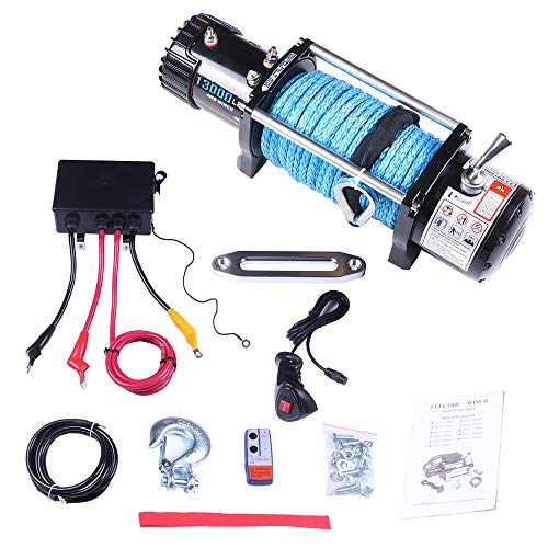 SCITOO Winch, 12V Electric Winches with Aluminum Fairlead/Synthetic Rope/Control Box Assembly/Wireless/Hand Remote Controller/Negative Wire/Hook/Bolts for SUV/ATV/4WD/Off Road,13000 LBS