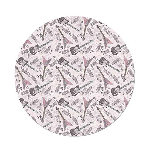 iPrint Polyester Round Tablecloth,Music Decor,Pattern with Guitars Shoes Skulls Crossbones Stars Punk Rock Music Concert,Dining Room Kitchen Picnic Table Cloth Cover,for Outdoor Indoor ()