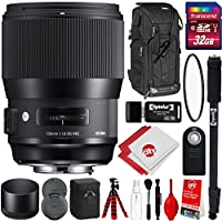 Sigma 135mm F1.8 DG HSM ART Lens for Canon DSLR Cameras w/ 32gb Pro Photo and Travel Bundle