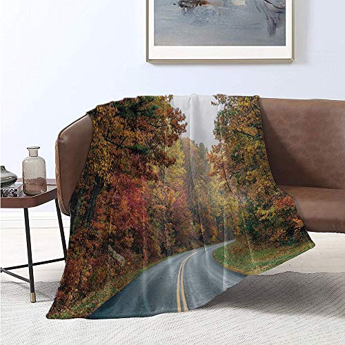 Jecycleus Appalachian Trail, Throw Blanket, Amazing Photo of Beautiful Autumn Trees Along Blue Ridge Parkway Virginia, Digital Printing Blanket 60x36 Inch Multicolor (Blue Ridge Parkway Best Time Of Year)