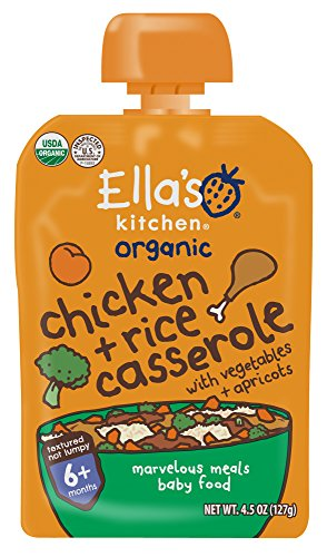 Ella's Kitchen 6+ Months Organic Baby Food, Chicken Casserole with Vegetables + Rice, 4.5 oz. (Pack of 6)