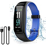 Kirlor Fitness Tracker, Waterproof Color Screen Smart Bracelet with Heart Rate Blood Pressure Monitor,Smart Watch Pedometer Activity Tracker Bluetooth for Android & iOS (Blue)