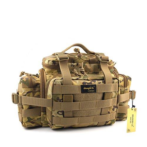 SHANGRI-LA Tactical Assault Gear Sling Pack Range Bag Hiking Fanny Pack Waist Bag Shoulder Backpack EDC Camera Bag MOLLE Modular Deployment Compact Utility Carry Bag Heavy Duty with Shoulder (Type Enhanced Nylon Butt Packs)