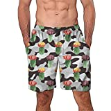NUWFOR Men Casual 3D Graffiti Printed Beach Work Casual Men Short Trouser Shorts Pants(Z-Multicolor,US:M Waist29.9-33.9'')