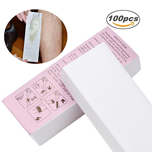 Lolicute 100PCS/ Pack Disposable Hair Removal Depilatory Paper Non-woven Wax Paper Waxing Strips for Home Spa and Beauty Salon Use