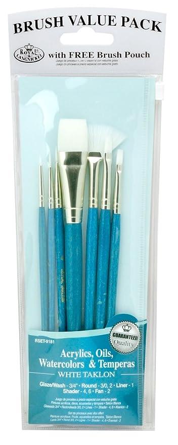 ROYAL BRUSH Langnickel White Taklon Brush Set Value Pack, 7-Pack