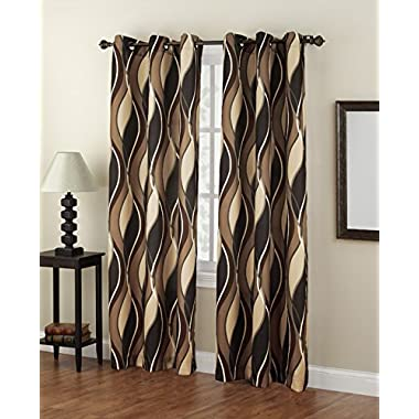 No. 918 Intersect Casual Textured Grommet Curtain Panel, 48 x 84 Inch, Charcoal Gray Wave Print