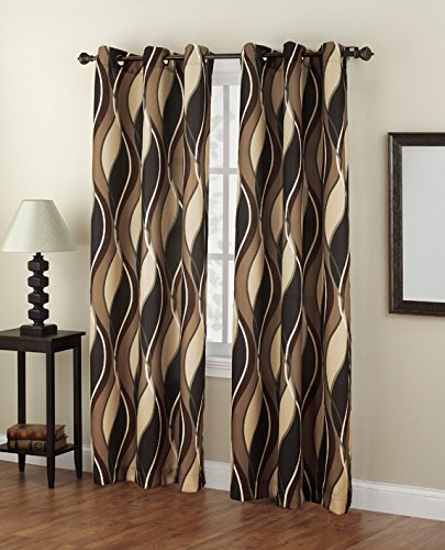 No. 918 Intersect Wave Print Casual Textured Curtain Panel, 48″ x 84″, Charcoal Gray