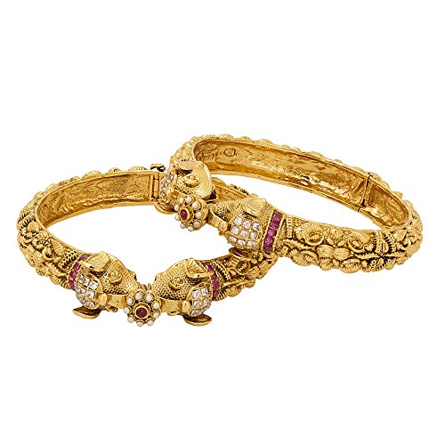 Adwitiya 24k Gold Plated Antique Ethnic Bangle Set with Tribal Pattern For Womens