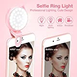 Selfie Ring Light Camera, OURRY Clip On [Rechargeable Battery] Selfie LED Camera Light [32 LED] Compatible iPhone, iPad, Sumsung Galaxy, Photography Phones, Tablet, Laptop (Pink)
