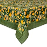 Couleur Nature Fruit Tablecloth, 90-inches by 90-inches, Yellow/Green