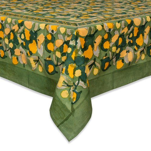 Couleur Nature Fruit Tablecloth, 90-inches by 90-inches, Yellow/Green by Couleur Nature