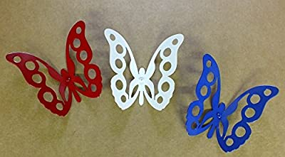 Red White & Blue Butterflies Metal Wall Art Fence/Sculpture Folk Art Set of 3 Steel Hand Made USA Garden Art Yard Art
