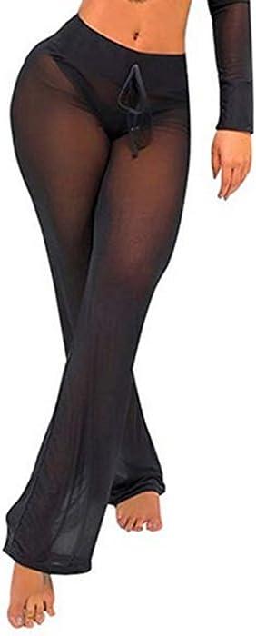 88b6664637 FULA-bao Women s Perspective Sheer Mesh Long Pants Swimsuit Bikini Bottom  Cover up (Black