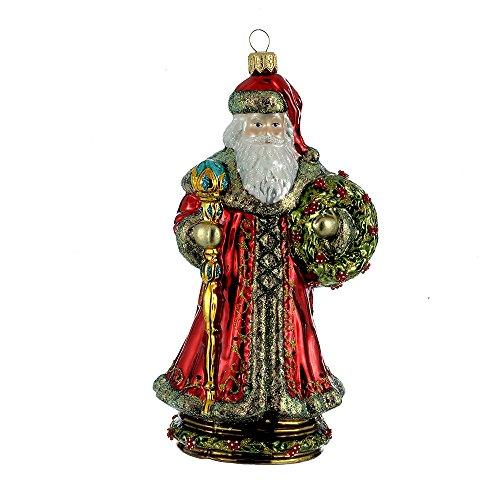 """Kurt S. Adler 7.48"""" Polonaise Glass Santa on Pedestal Orn..."""