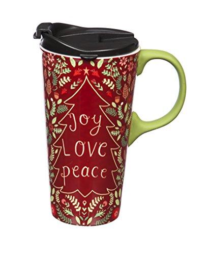 - Cypress Home Joy, Love, Peace Ceramic Travel Coffee Mug with Silicone Handle, 17 ounces