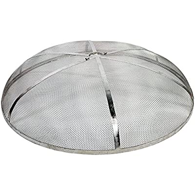 Sunnydaze Fire Pit Spark Screen Cover, Round Outdoor Heavy Duty Firepit Lid Protector, Rust Resistant, Stainless Steel, 40 Inch