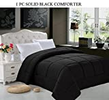 Elegance Linen All Season Goose Down Alternative Double-Fill Comforter (Duvet Insert), King, Black
