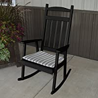 A & L Furniture Yellow Pine Classic Porch Rocker Chair, Black