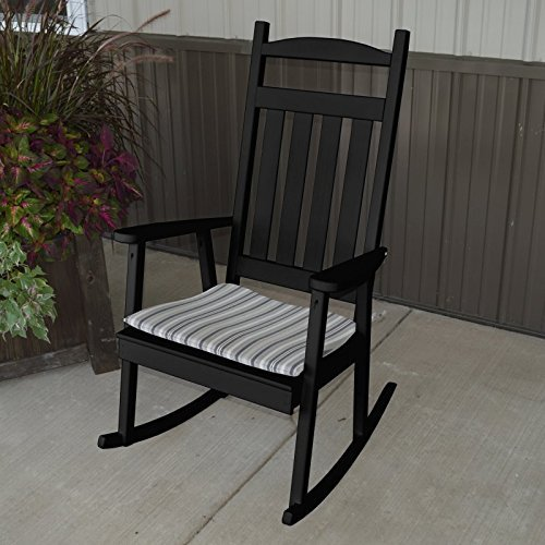 A & L Furniture Yellow Pine Classic Porch Rocker Chair, Oak Stain