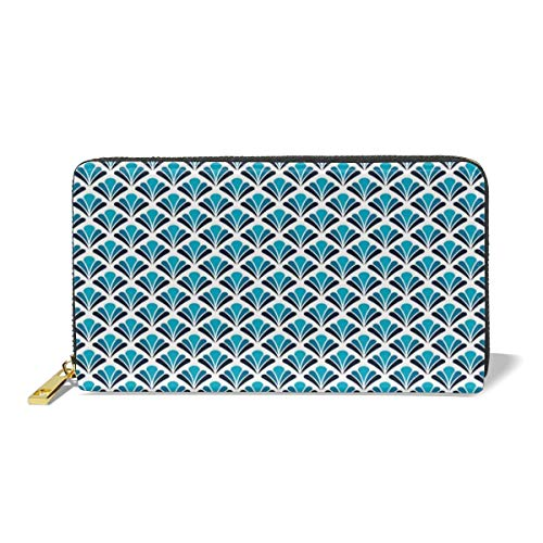 Women's Long Leather Card Holder Purse,French Tradition Floral Inspired Damask Classic Flower Illustration,Elegant Clutch Wallet