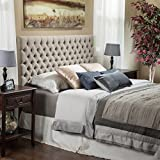diy tufted headboard Light Beige Tall Tufted Headboard Traditional Queen/ Full Size Tufted Headboard an Easy Diy Headboard. Our Padded Headboard Full /Queen Studded Headboard Is a Button Nailed Headboard