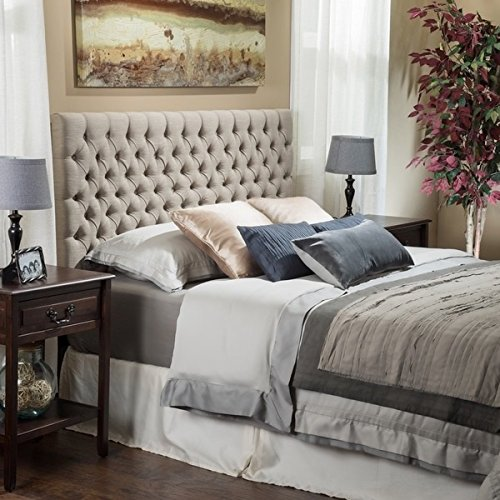 Light Beige Tall Tufted Headboard Traditional Queen/ Full Size Tufted Headboard an Easy Diy Headboard. Our Padded Headboard Full /Queen Studded Headboard Is a Button Nailed Headboard (Tall Headboard Queen)