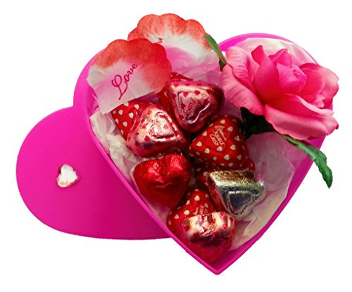 Valentines Day Heart Gift Box with Chocolate and a Rose for Her (Hot Pink, (Heart Chocolate Gift Box)