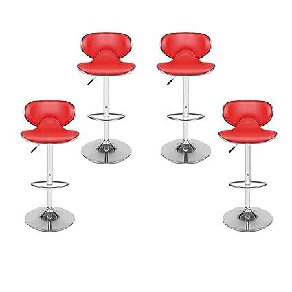 Vendeur Pro Lot De 4 Tabourets De Bar Reglables Pivotant Et Reglable En Hauteur Avec Dossier 81 Cm 102 Cm Tabouret En Similicuir Cuir Rouge