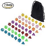 Translucent Polyhedral dice sets d&d of 49 Pieces, DNDND 7 Sets7-Die Polyhedral Dice Sets with Black Drawstring Bag for Dungeons Dragons Pathfinder D&D RPG MTG (D4, D6, D8, D10, D12, D20 and D%)