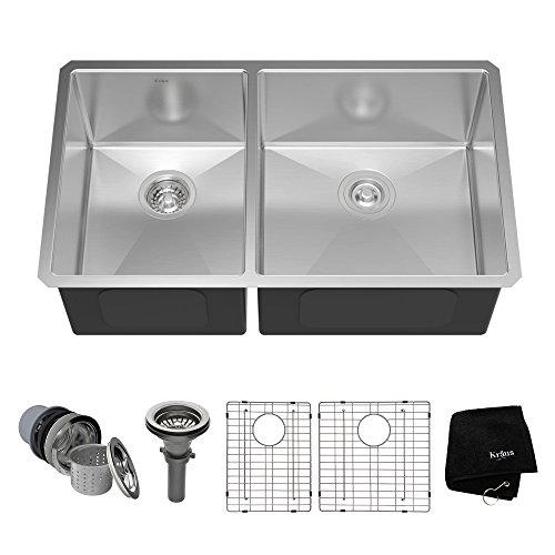 Kraus KHU104-33 33 inch Undermount 60/40 Double Bowl 16 gauge Stainless Steel Kitchen Sink