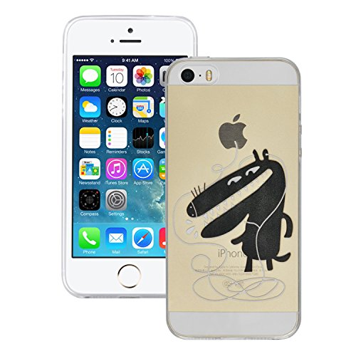 iProtect TPU Schutzhülle Apple iPhone 5 / 5s Soft Case Silikon - Gel Hülle cartoon schwarzer Hund musik