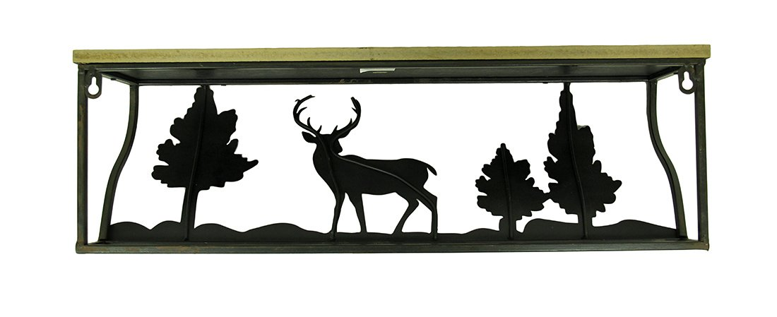 Wood & Metal Hanging Shelves 3 Piece Forest Animal Rustic Blackened Brown Wood And Metal Wall Shelf Set 28 X 9 X 8 Inches Brown by Zeckos (Image #3)
