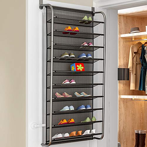 dedbedb8916bf Esdella Shoe Rack Over The Door, 10 Tier Steel Tube with Nets Shoes  Organizer Wall Mounted Sh..