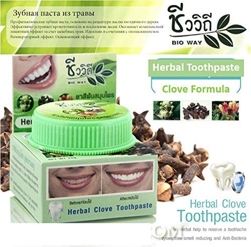 Clove Toothpaste Herbal Bio Way 25g Whitening Teeth Green Thai Herb Fresh Breath
