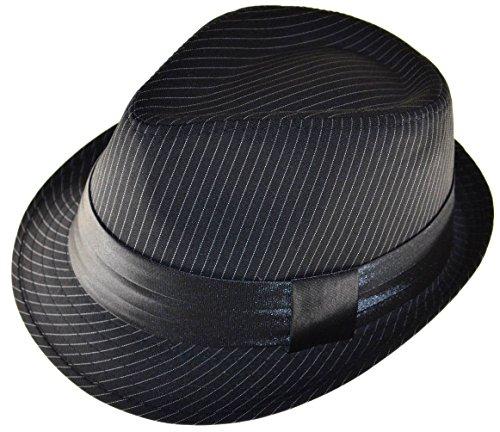(K Men's Black Pinstripe Fedora Hat with Black Band Large)